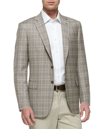 Plaid Two-Button Jacket, Tan/Brown