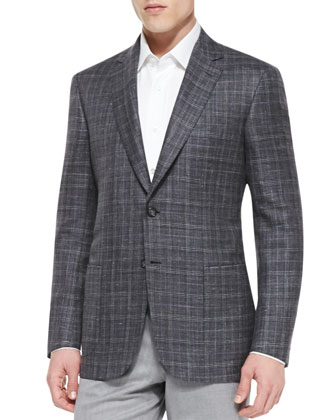 Plaid Jacket with Contrast Deco, Gray/Purple