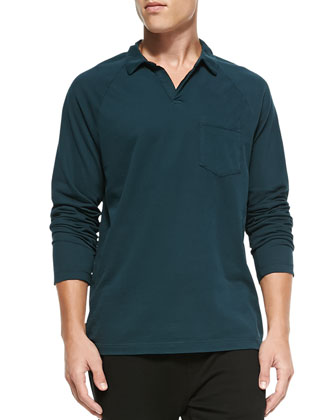 Long-Sleeve Sueded Jersey Polo, Forest Green