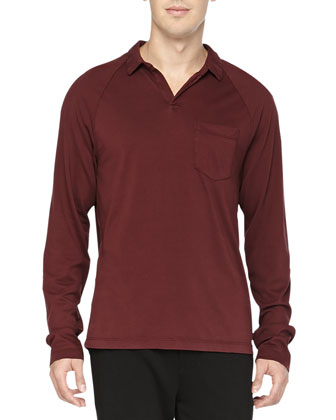 Long-Sleeve Polo, Wine