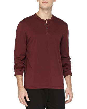 Long-Sleeve Henley, Wine