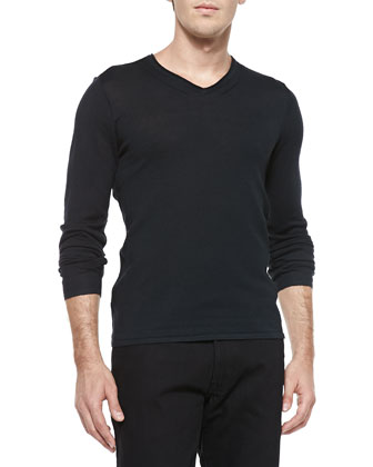 V-Neck Sweater W/ Pintuck Details, Black
