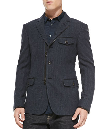 Soft Five-Button Jacket W/ Zip Closure, Navy
