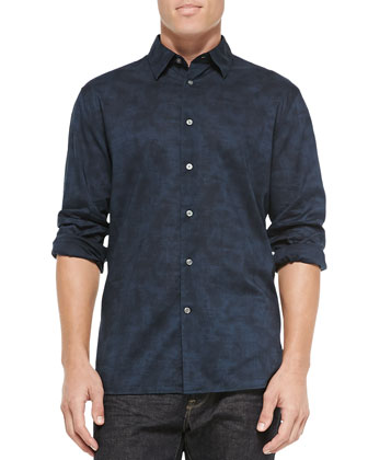Long-Sleeve Printed Button-Down Shirt, Navy