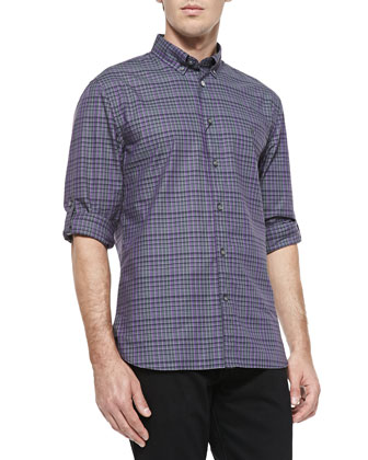 Plaid Roll-Tab Shirt, Lilac