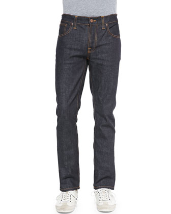 Grim Tim Straight-Leg Denim Jeans, Dark Blue