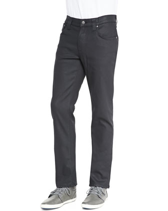 Thin Finn Coated Straight-Leg Jeans, Black