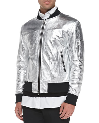 Metallic Leather Bomber Jacket, Silver