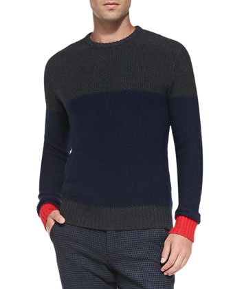 Colorblock Knit Sweater, Dark Gray