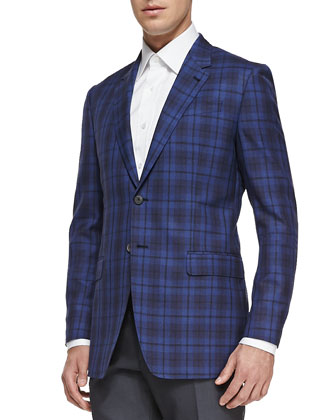 The Byard Plaid Jacket, Bright Blue