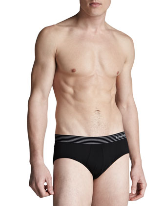 Stretch-Cotton Midi Briefs, Black/White