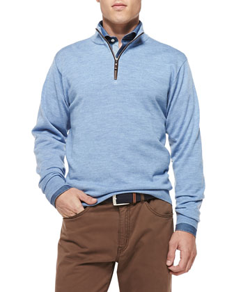 Merino 1/4-Zip Sweater, Blue