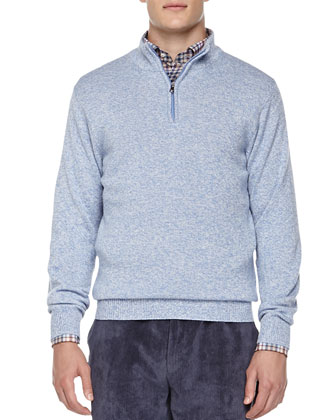 Firenze 1/4-Zip Pullover Sweater, Blue
