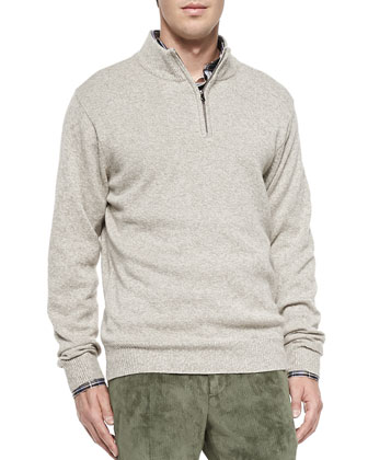 Melange 1/4-Zip Sweater, Brown