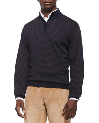 Wool-Blend Striped 1/4-Zip Sweater, Navy