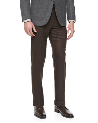 Solid Flannel Trousers, Tobacco