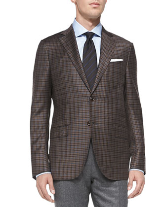 Check Two-Button Jacket, Tic Flannel Trousers & Woven Stripe Silk Tie