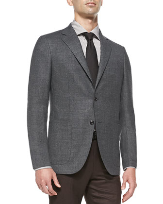 Blazer with Elbow Patches, Herringbone Silk Tie, Polished Leather Belt & ...