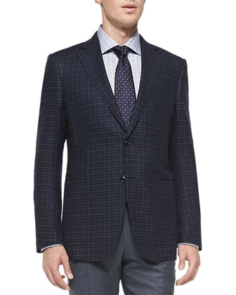 Trofeo-Cashmere Check Jacket, Navy