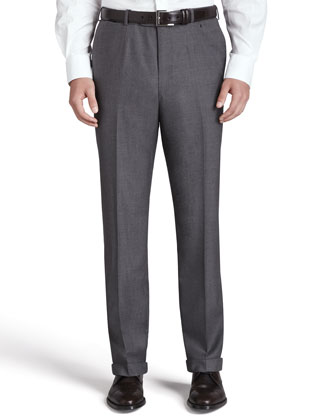 Flat-Front Trousers, Gray