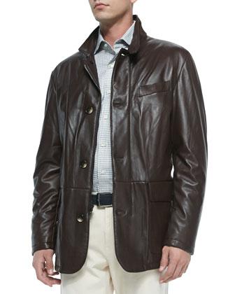 Sheepskin Leather Jacket, Dark Brown