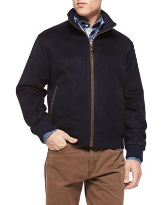 Patrick Wool/Cashmere Jacket, Merino 1/4-Zip Sweater, Button-Down Denim ...