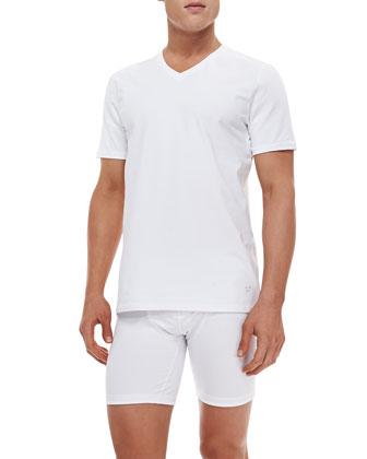 Cotton-Stretch V-Neck Tee, White