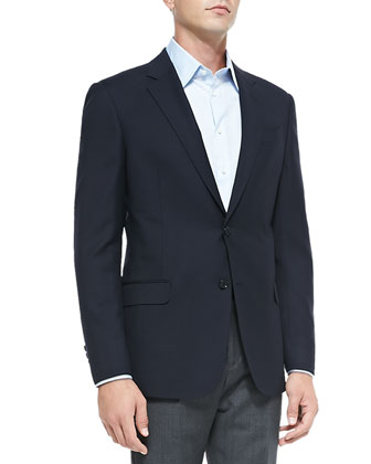 Basic Wool Jacket, Navy