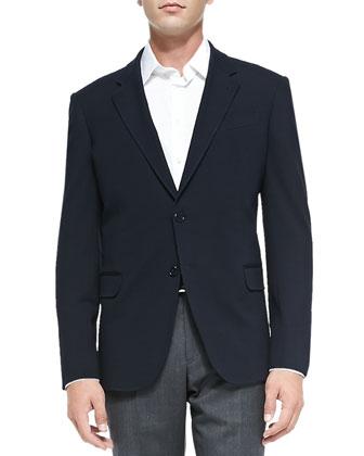 Linea R Basic Jacket & Melange Flat-Front Trousers