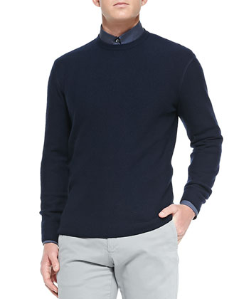 Herringbone Crewneck Sweater, Navy