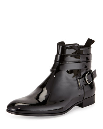 Patent Leather Ankle-Wrap Boot