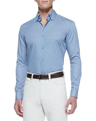 Circle-Print Sport Shirt, Blue/Sage