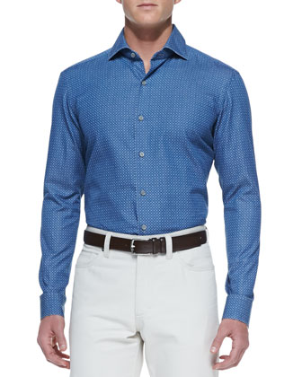 Circle-Print Long-Sleeve Shirt, Blue