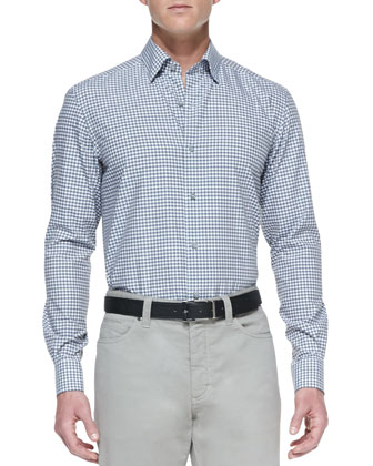 Poplin Microcheck Sport Shirt, Blue/Gray