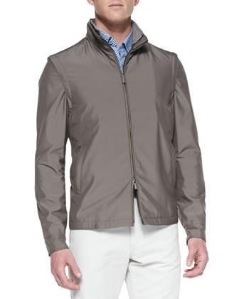 Scott Zip-Front Jacket, Beige