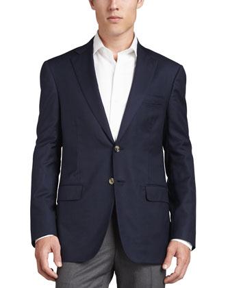 Wool-Crepe Blazer, Navy