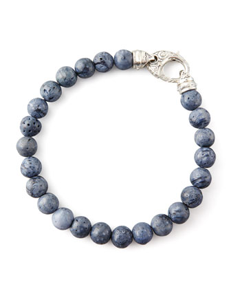 Beaded Gray Coral Bracelet, 8mm