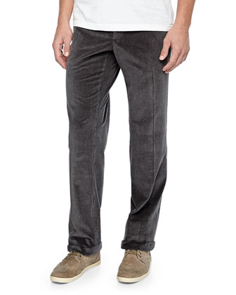 Cotton-Cashmere Brando Corduroy Pants, Gray