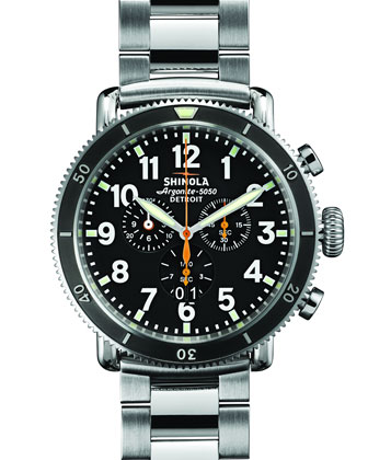 48mm Runwell Sport Chrono Watch, Stainless Steel/Black
