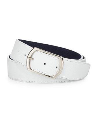 Reversible Leather Belt, Brown/Blue