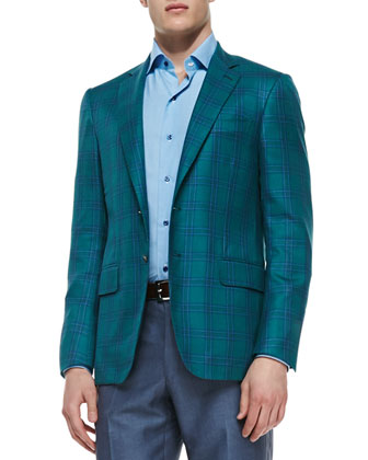 Plaid Two-Button Jacket, Green