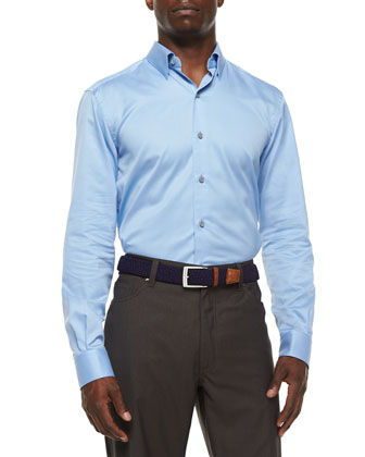 3-Ply Cotton Dress Shirt, Blue