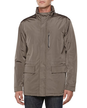 Tech Compact Car Coat, Brown