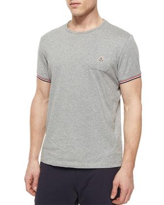 Short-Sleeve Tipped Crewneck Shirt, Gray