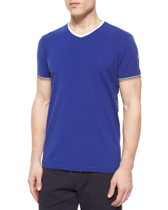 Short-Sleeve Tipped V-Neck Shirt, Blue