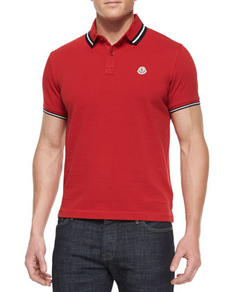 Short-Sleeve Tape-Tipped Polo Shirt, Red