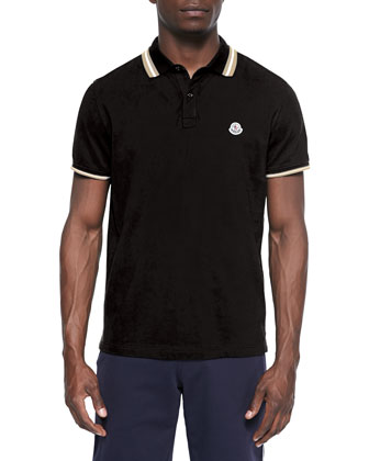 Short-Sleeve Tipped Polo Shirt, Black