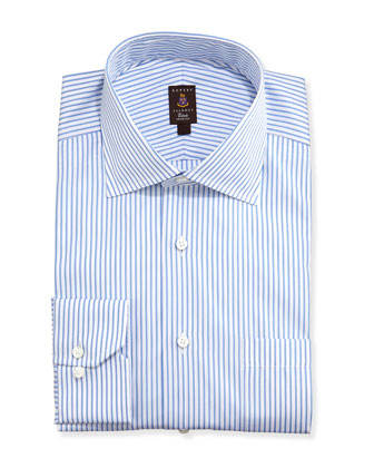 Framed Satin-Stripe Trim Fit Dress Shirt, Blue
