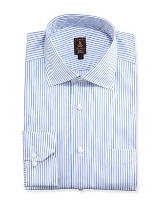 Framed Satin-Stripe Trim Fit Dress Shirt, Blue