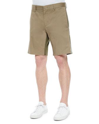 Bicolor Bermuda Woven Shorts, Khaki